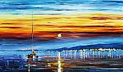 Greece Painting Originals - Sunset Over California by Leonid Afremov