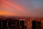 Central Park Prints - Sunset Over Central Park and the New York City Skyline Print by Vivienne Gucwa
