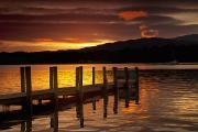 Water Vessels Posters - Sunset Over Dock At Lake Windermere Poster by John Short
