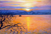 Russia Painting Originals - Sunset over Eastern Russia by Janet Silkoff