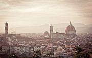 Dome Posters - Sunset Over Florence Poster by KOMA medien