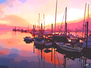 One Planet Infinite Places Prints - Sunset Over Harbor Print by Steve Huang