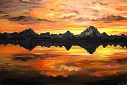 All Landscape Posters - Sunset Over Jackson Lake and the Grand Tetons Poster by Connie Tom
