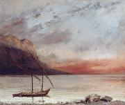 Fishing Boat Reflection Posters - Sunset over Lake Leman Poster by Gustave Courbet