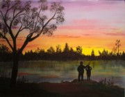 Sillouette Originals - Sunset over lake by Nancy Wood