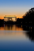 Reflecting Pool Photos - Sunset over Lincoln Memorial by Brian Jannsen