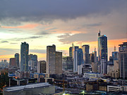 Travel Prints - Sunset Over  Makati City, Manila Print by Neil Howard