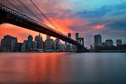 Brooklyn Bridge Posters - Sunset over Manhattan Poster by Larry Marshall