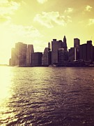 Cities Art - Sunset Over Manhattan by Vivienne Gucwa