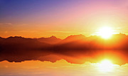 Lens Flare Posters - Sunset Over Mountains With Wonderful Reflection Poster by Traumlichtfabrik