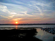 Cloudscape Digital Art - Sunset Over Murrells Inlet II by Suzanne Gaff