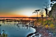 Edge Prints - Sunset over Ocean Pond Print by Rich Leighton