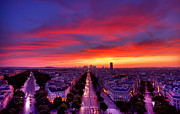 Road Travel Prints - Sunset Over Paris Print by Traumlichtfabrik