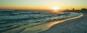 Pensacola Posters - Sunset over Pensacola Beach Pier Poster by Richard Roselli