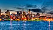 Waterfront Prints - Sunset over philadelphia Print by Louis Dallara