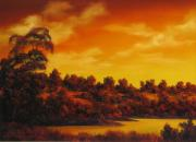 Landscape Reliefs Metal Prints - Sunset Over River Metal Print by John Cocoris