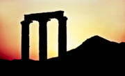 Roman Ruins Digital Art Posters - Sunset over ruins - Syria Poster by Michael Robert Powell