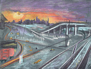 Sunset Greeting Cards Mixed Media Posters - Sunset Over San Francisco and Oakland Train Tracks Poster by Asha Carolyn Young