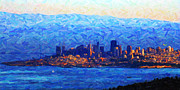 Bay Bridge Digital Art - Sunset Over San Francisco Bay by Wingsdomain Art and Photography