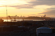 Long Sizes Posters - Sunset Over San Francisco Skyline Through The Port of Oakland . 7D11028 Poster by Wingsdomain Art and Photography