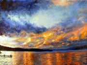 Corwin Paintings - Sunset over Skidoo Bay by James Corwin