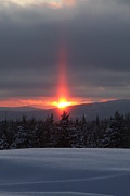 Snow Scence Posters - Sunset Over Snowy Mountains Poster by Brenda Doucette