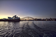 Opera House Framed Prints - Sunset over Sydney Harbor Bridge and Sydney Opera House Framed Print by Douglas Barnard