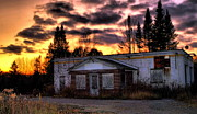 Abandoned Buildings Framed Prints - Sunset Over The Abandoned Framed Print by Emily Stauring