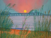 Dusk Pastels Prints - Sunset Over the Bay Bridge Print by Cathy Harville