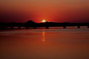 Sunset Over The Big Dam Bridge Print by Joe Finney