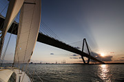 Charleston Sunset Posters - Sunset Over the Cooper River Bridge Charleston SC Poster by Dustin K Ryan
