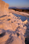 Locations Prints - Sunset over the famous cotton castle pools of Pamukkale Print by Sami Sarkis