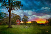 Barns Digital Art - Sunset Over The Farm 2 by Michael Petrizzo