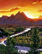 Wyoming Paintings - Sunset Over The Grand Tetons by David Lloyd Glover