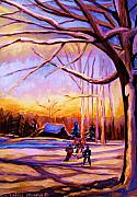 Kids Playing Hockey Paintings - Sunset Over The Hockey Game by Carole Spandau