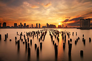 Sunset Tapestries Textiles - Sunset over the Hudson River by Larry Marshall