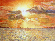Sunset Reflecting In Water Posters - Sunset Over The Lake Poster by John Hebb