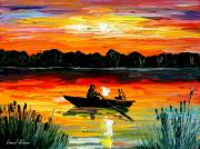 Building Painting Originals - Sunset Over The Lake by Leonid Afremov