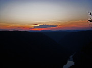 Sky Mountaintops Posters - Sunset over the New river Poster by Aimee L Maher