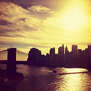 Cities Art - Sunset Over the New York City Skyline and the Brooklyn Bridge by Vivienne Gucwa