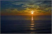 Skylines Pyrography Originals - Sunset Over The Ocean by Genadi Tchoulak