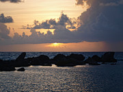 Sunset Over The Ocean Print by Philip Guiver