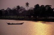 Sunset Over The Perfume River Print by Sami Sarkis