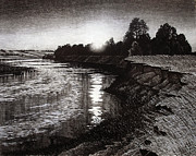 Shores Drawings - Sunset over the river by Aleksey Zuev
