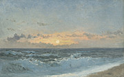 Blue Sea Paintings - Sunset over the Sea by William Pye