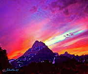 Granite Mixed Media Posters - Sunset Over the Sierras Poster by Nadine and Bob Johnston
