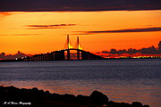 Sunshine Skyway Bridge Prints - Sunset over the Skyway Bridge Print by Barbara Bowen