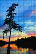 Florida Waterscape Originals - Sunset over the Suwanee mosaic by Barbara Bowen