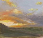 Vale Painting Prints - Sunset Over The Valley Print by Podi Lawrence
