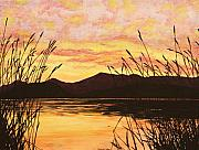Sunset Over The Water Print by Michelle Miron